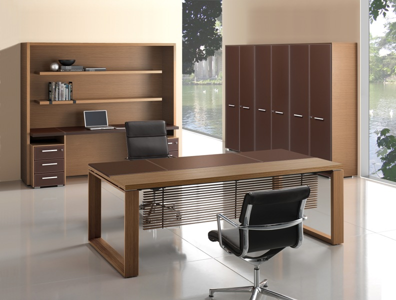 Arche Executive Desk Leather Amp Wood Top Allard Office