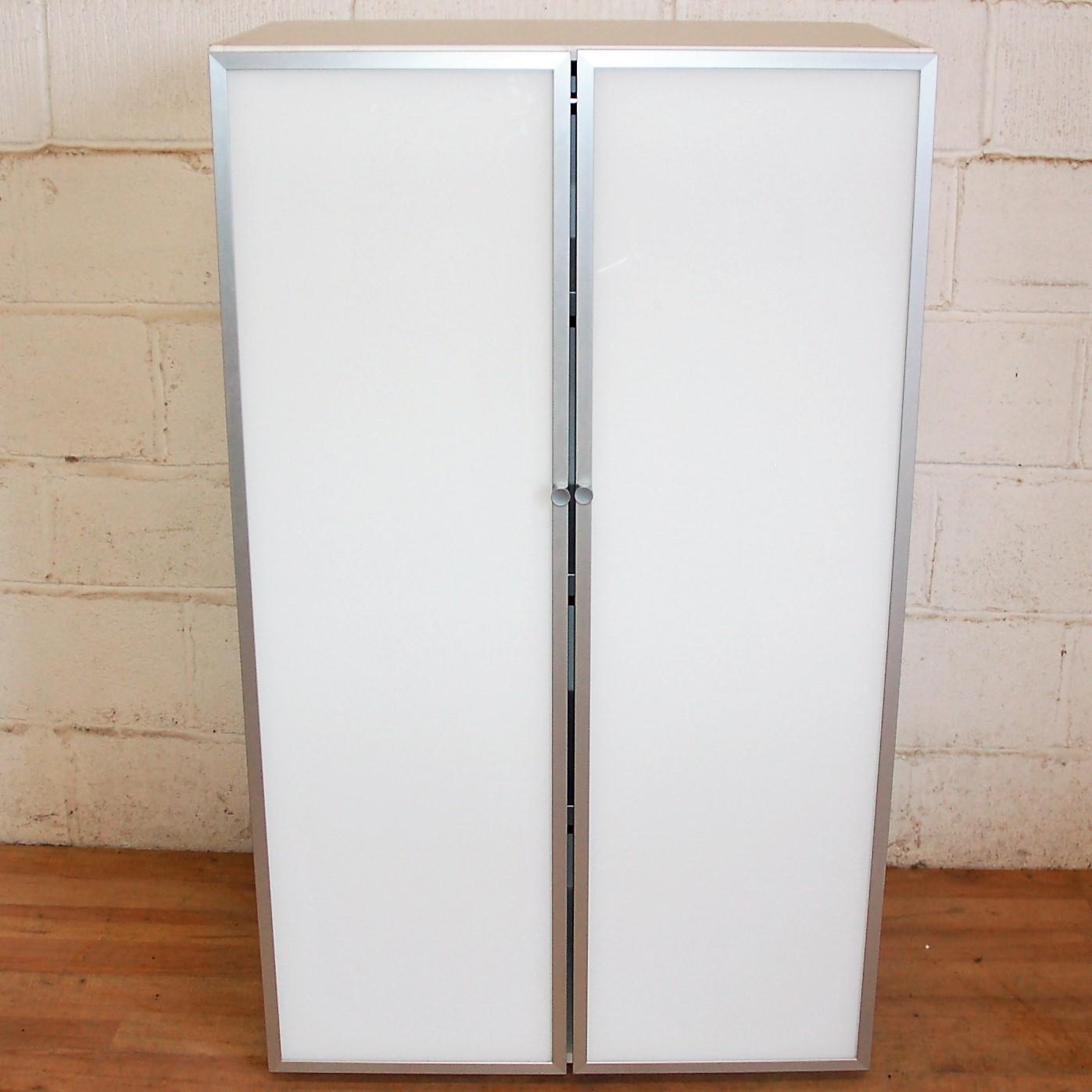 Glass Door Cupboard White Aluminium 5057 Allard Office Furniture