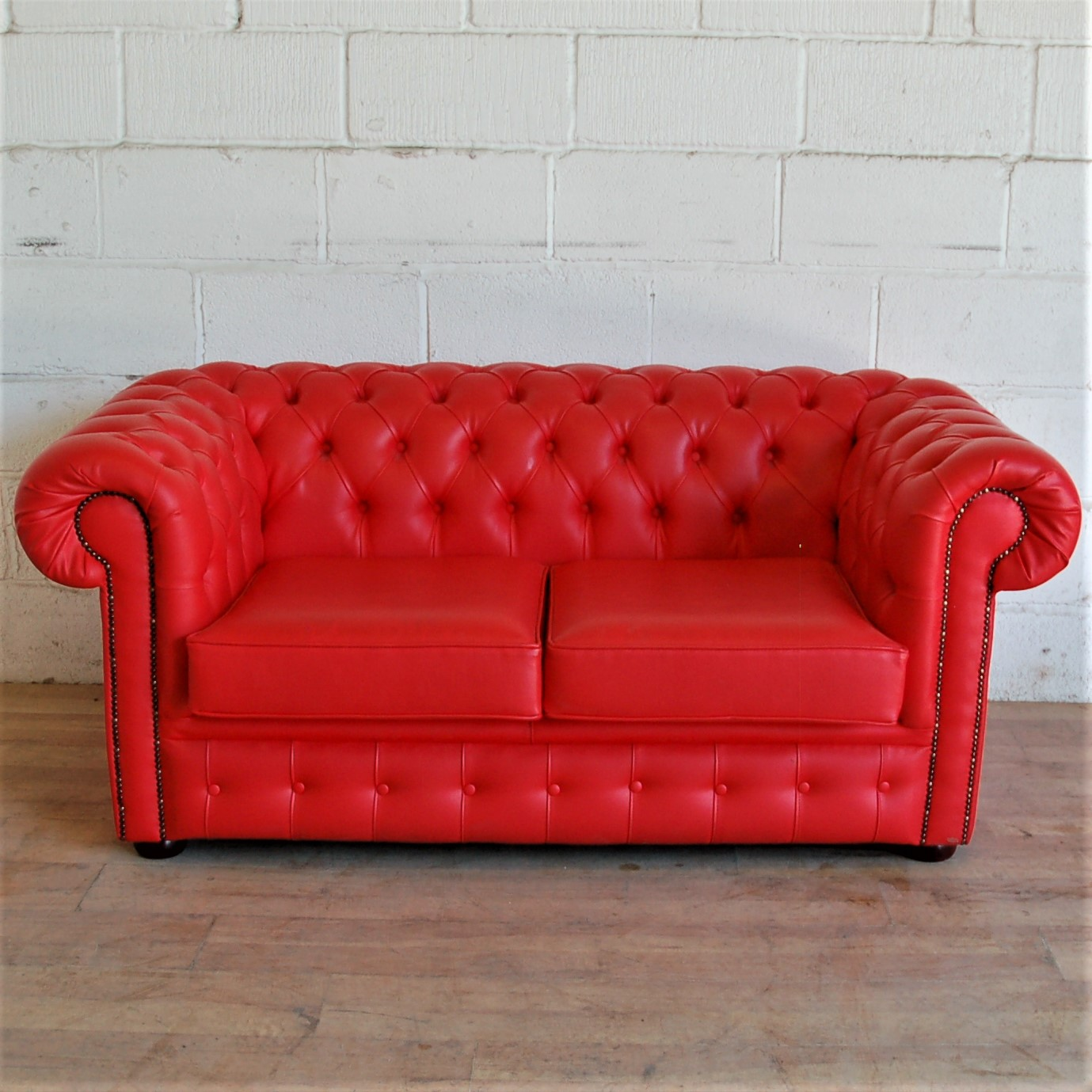 Leather Sofa Wholesalers Uk: SOLD Red Faux Leather Chesterfield Sofa 3012