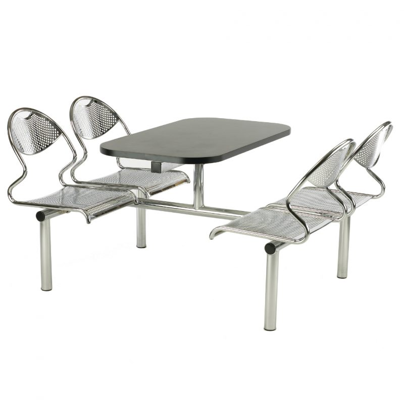 A complete dining unit with stylish, yet strong all metal perforated Chrome seat Durable all metal seating is ideal for heavy use areas, or where vandalism is considered a factor, like schools, prisons or police stations Choice of seating configurations Robust heavy gauge, fully welded frame Choice of Table Top and Frame colour - if you're looking for a specific colour please get in touch and we'll see what we can do! Choice of two table top edge options 5 Year Guarantee