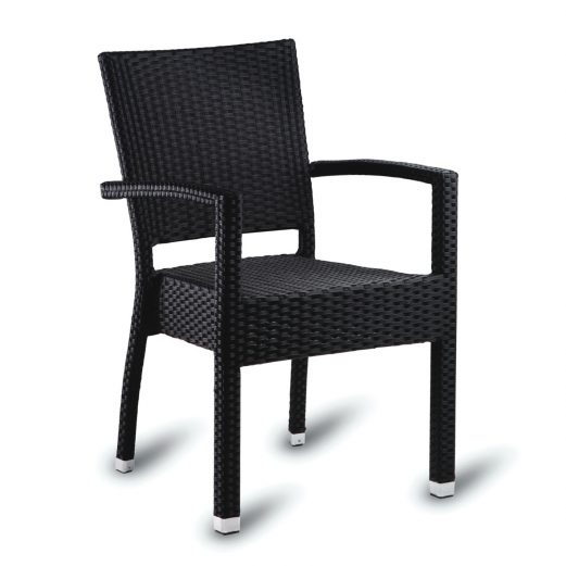 Kingsley Outdoor Arm Chair Stackable PE Resin Weave