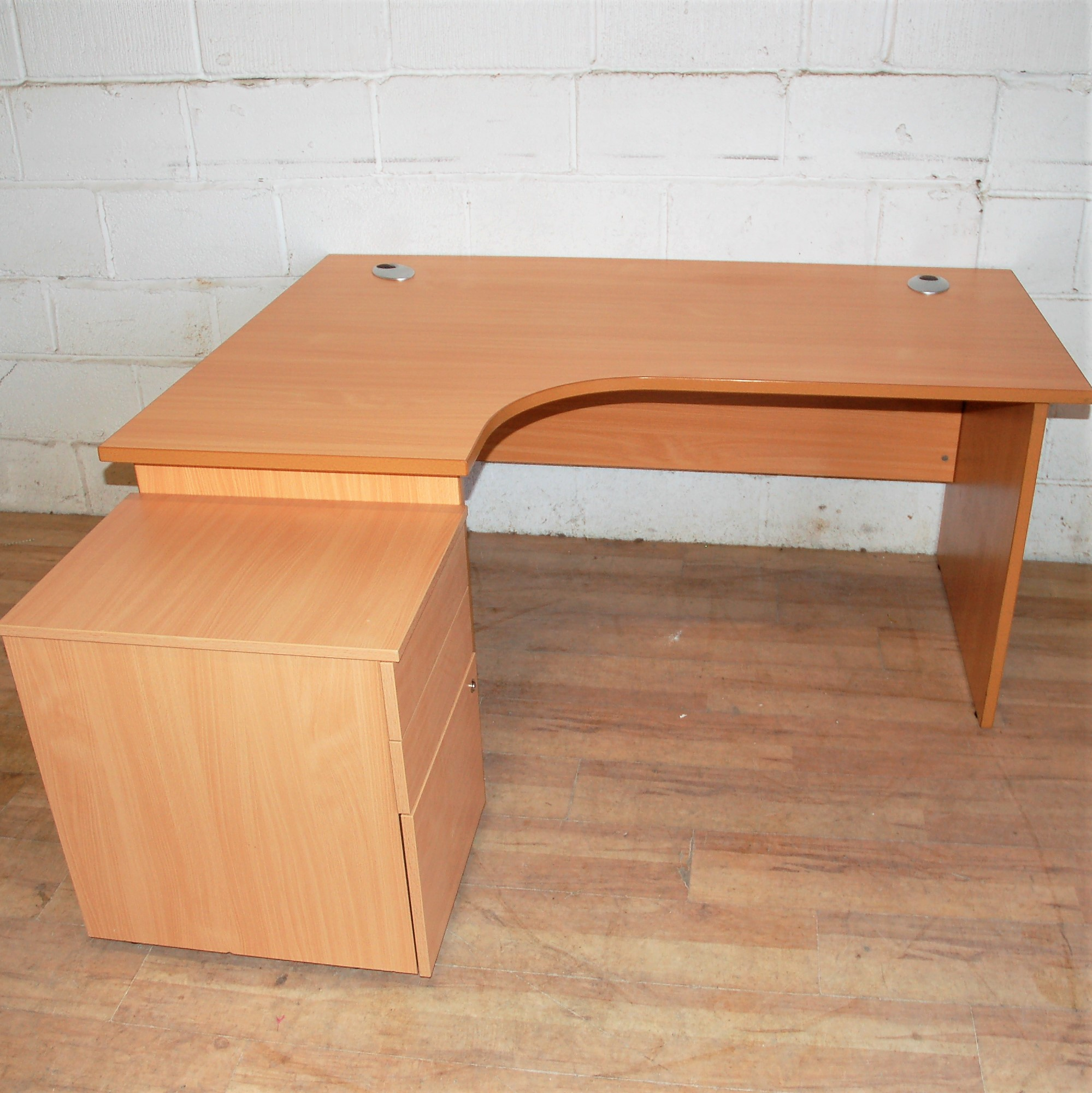 Budget Beech Radial Desk With Pedestal 13026 Allard