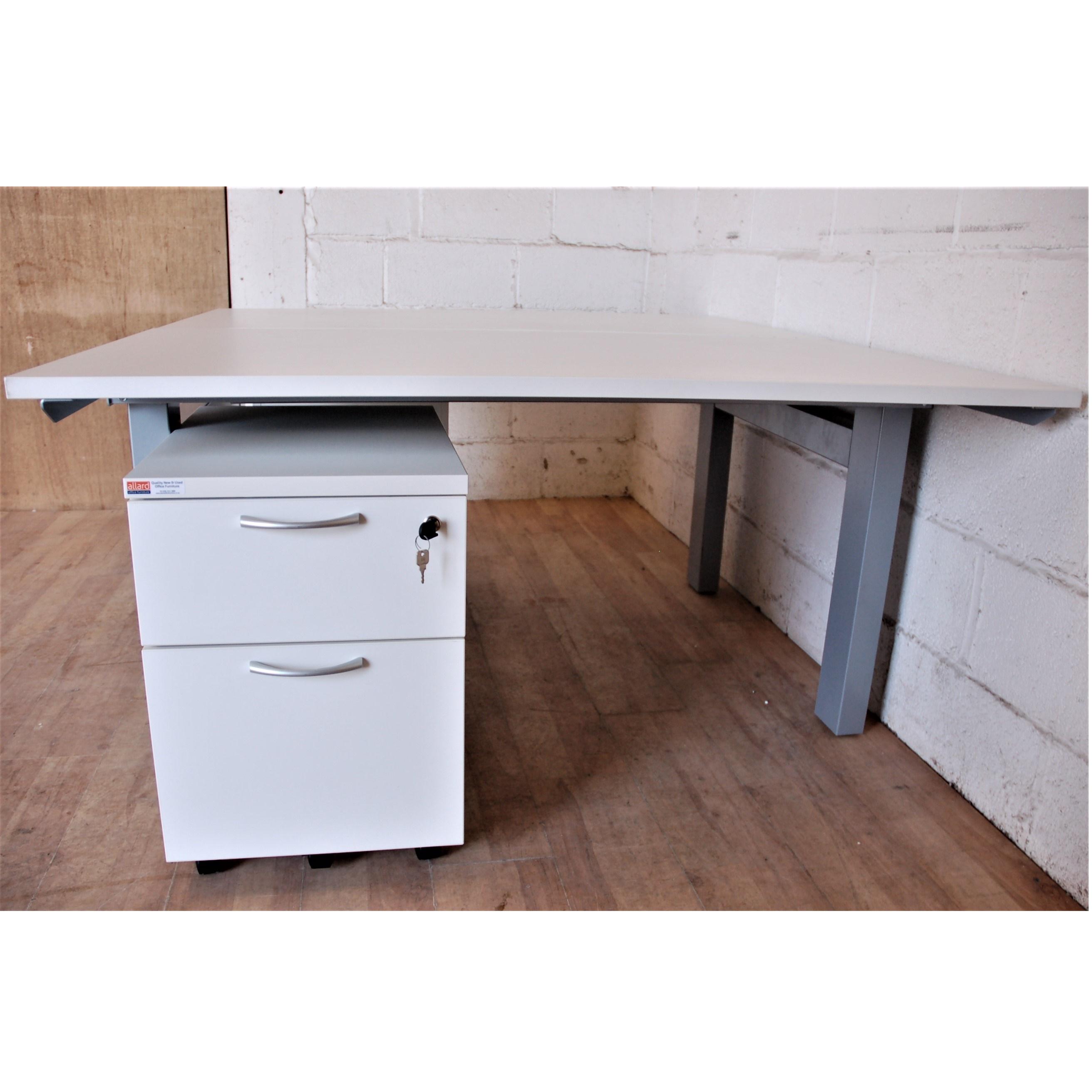 Double Bench Desk White Silver 11124 Allard Office Furniture