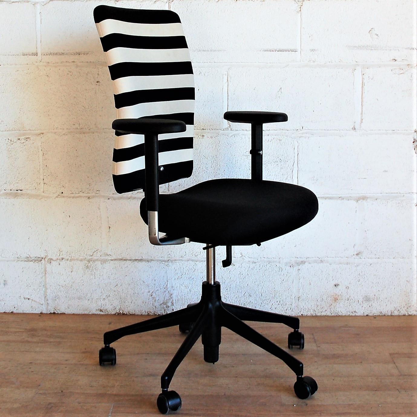 VITRA 'T' Task Chair Black White Stripe 2128