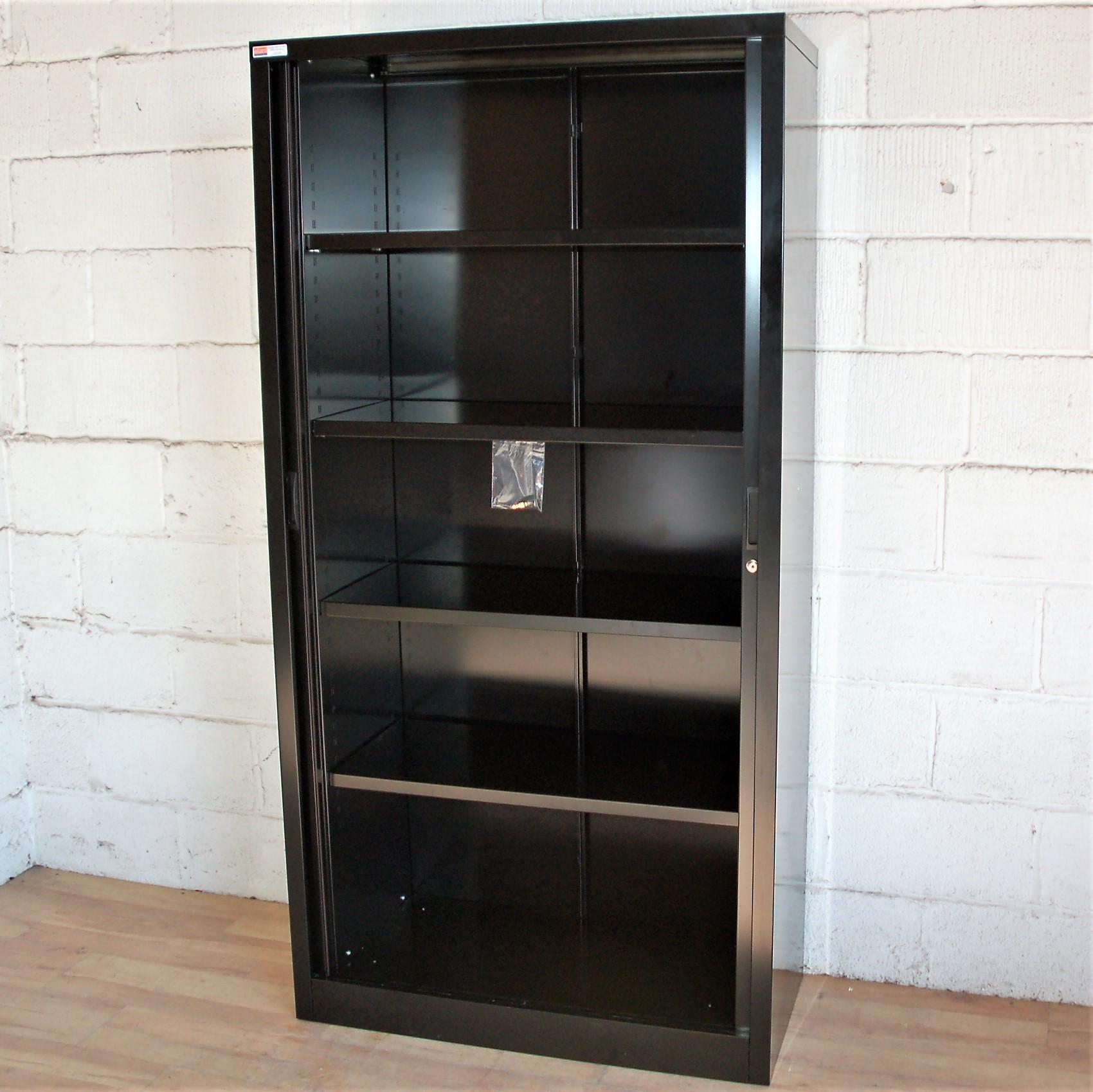 Tambour Cupboard Black 5085 Allard Office Furniture