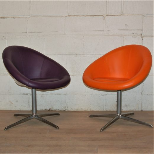 PAIR Modern Leather Reception Visitors Chairs 3031