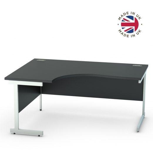 Black Cantilever Crescent Desk