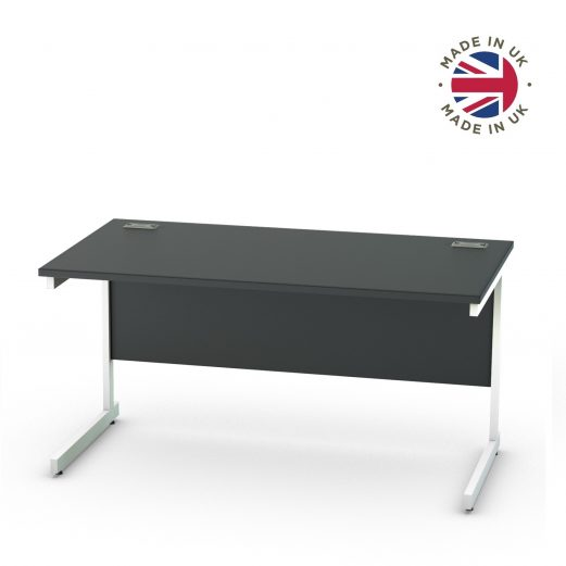 Black Cantilever Straight Desk