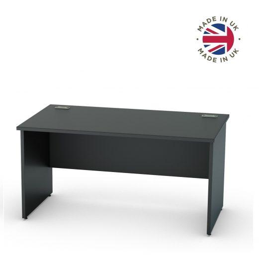 Black Panel End Straight Desk