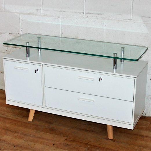 BRALCO Credenza Sideboard White Glass 5135