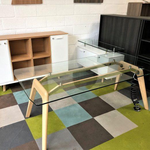BRALCO Glass Oak Exec Desk and Credenza 11183a