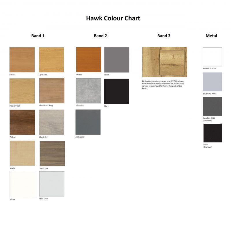 Hawk Colour chart