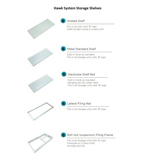 Hawk System Storage Shelf Options