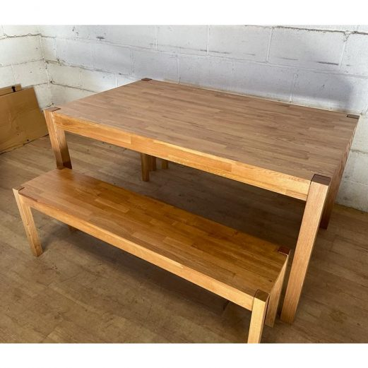 Oak Dining Table and Benches 15124